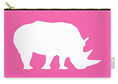 Rhino In Pink And White Carry-all Pouch