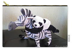 Carry-all Pouch featuring the photograph Riding A Zebra.traveling Pandas Series by Ausra Huntington nee Paulauskaite