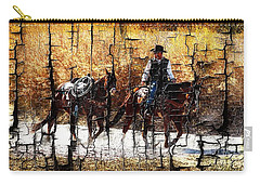 Rio Cowboy With Horses  Carry-all Pouch by Barbara Chichester