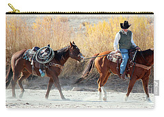 Carry-all Pouch featuring the photograph Rio Grande Cowboy by Barbara Chichester