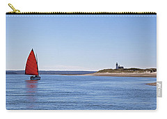 Ripple Catboat With Red Sail And Lighthouse Carry-all Pouch
