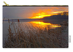 Carry-all Pouch featuring the photograph Rising Sunlights Up Shore Line Of Cattails by Randall Branham