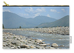 Carry-all Pouch featuring the photograph Riverbank Water Rocks Mountains And A Horseman Swat Valley Pakistan by Imran Ahmed
