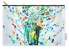 Robert Plant Singing - Watercolor Portrait Carry-all Pouch by Fabrizio Cassetta