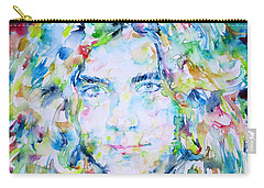 Robert Plant - Watercolor Portrait Carry-all Pouch by Fabrizio Cassetta