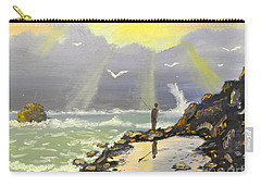 Carry-all Pouch featuring the painting Rock Fishing At Wombarra  by Pamela  Meredith