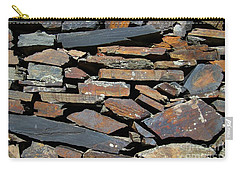 Carry-all Pouch featuring the photograph Rock Wall Of Slate by Bill Gabbert
