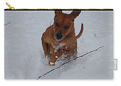 Carry-all Pouch featuring the photograph Romp In The Snow by Mim White