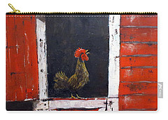 Carry-all Pouch featuring the painting Rooster In Window by Lee Piper