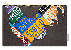 Rooster Recycled License Plate Art On Gray Wood Carry-all Pouch