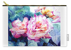 Carry-all Pouch featuring the painting Pink Rose Bush by Greta Corens