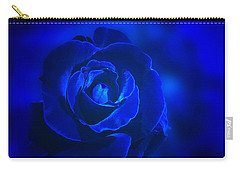 Rose In Blue Carry-all Pouch by Sandy Keeton