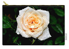 Carry-all Pouch featuring the photograph Rose In The Rain by Deena Stoddard