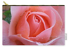Carry-all Pouch featuring the photograph Rose In The Rain by Lingfai Leung