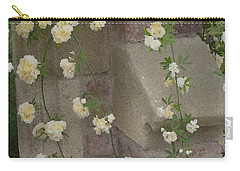 Carry-all Pouch featuring the photograph Rose Sprawling On Stone by Tom Wurl