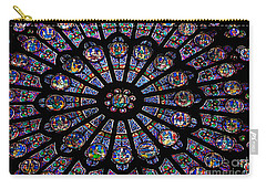 Rose Window .famous Stained Glass Window Inside Notre Dame Cathedral. Paris Carry-all Pouch