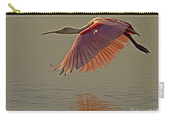 Carry-all Pouch featuring the photograph Roseate Spoonbill In Flight-signed by J L Woody Wooden