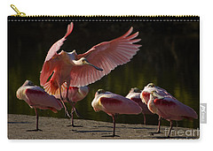 Carry-all Pouch featuring the photograph Roseate Spoonbill Landing-signed by J L Woody Wooden