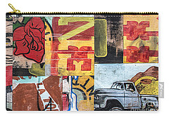 Carry-all Pouch featuring the mixed media Roses And Trucks by Terry Rowe