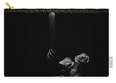 Carry-all Pouch featuring the photograph Roses By Lamplight Bw by Ron White