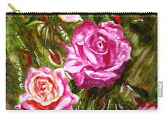 Carry-all Pouch featuring the painting Roses by Harsh Malik