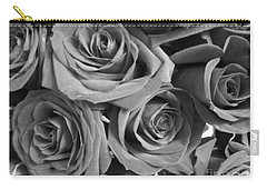 Carry-all Pouch featuring the photograph Roses On Your Wall Black And White  by Joseph Baril