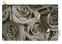 Carry-all Pouch featuring the photograph Roses On Your Wall Sepia by Joseph Baril