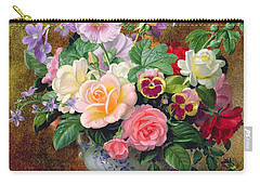 Roses Pansies And Other Flowers In A Vase Carry-all Pouch by Albert Williams