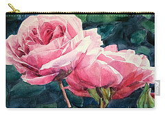 Watercolor Of Two Luscious Pink Roses Carry-all Pouch
