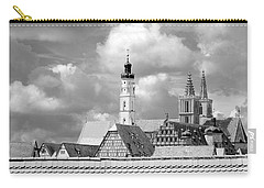 Rothenburg Towers In Black And White Carry-all Pouch by Corinne Rhode