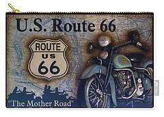 Route 66 Odell Il Gas Station Motorcycle Signage Carry-all Pouch by Thomas Woolworth