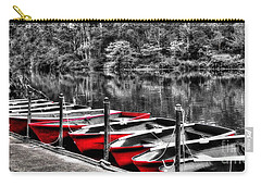 Row Of Red Rowing Boats Carry-all Pouch by Kaye Menner