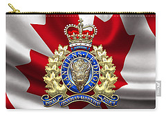 Royal Canadian Mounted Police - Rcmp Badge Over Waving Flag Carry-all Pouch