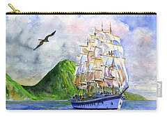 Royal Clipper Leaving St. Lucia Carry-all Pouch by John D Benson