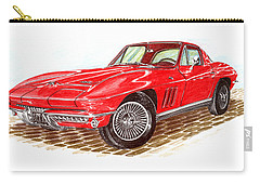 Ruby Red 1966 Corvette Stingray Fastback Carry-all Pouch by Jack Pumphrey