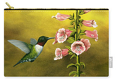 Ruby Throated Hummingbird And Foxglove Carry-all Pouch