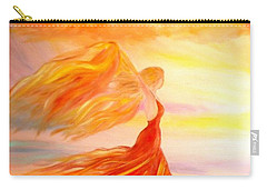 Carry-all Pouch featuring the painting Running Along The Beach by Lilia D
