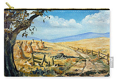 Rural Farmland Americana Folk Art Autumn Harvest Ranch Carry-all Pouch by Lee Piper