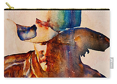 Carry-all Pouch featuring the painting Rustic Cowboy by Jani Freimann