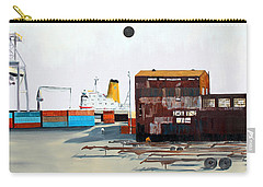 Carry-all Pouch featuring the painting Rustic Schnitzer Steel Building And Ship by Asha Carolyn Young