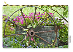 Carry-all Pouch featuring the photograph Rustic Wheel Digital Artwork by Sandra Foster