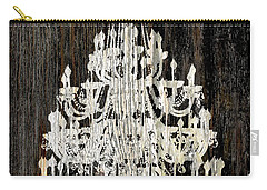 Rustic Shabby Chic White Chandelier On Wood Carry-all Pouch by Suzanne Powers