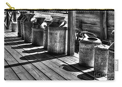 Carry-all Pouch featuring the photograph Rusty Western Cans Bw by Mel Steinhauer