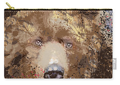 Carry-all Pouch featuring the digital art Sad Brown Bear by Kim Prowse