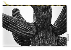 Saguaro Cactus Black And White 3 Carry-all Pouch