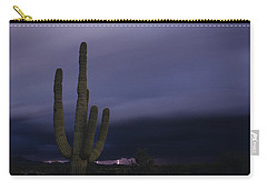 Saguaro Cactus Sunset At Dusk With Lightning Arizona State Usa Carry-all Pouch