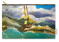 Sailing Ship In A Storm Carry-all Pouch by Pamela  Meredith