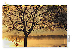 Carry-all Pouch featuring the photograph Saint Clair Sunrise With Mist 1 by Mary Bedy