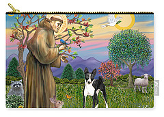 Saint Francis Blesses A Black And White Basenji Carry-all Pouch