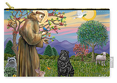 Saint Francis Blesses A Black Chinese Shar Pei Carry-all Pouch